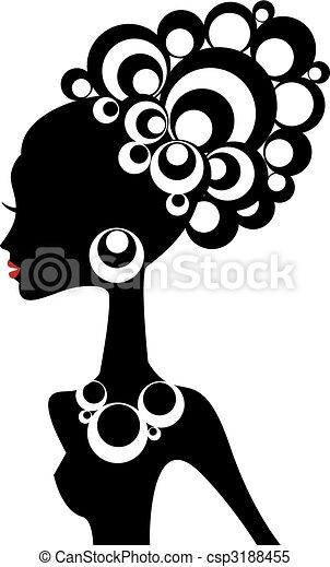 mulher, vetorial, pretas - csp3188455