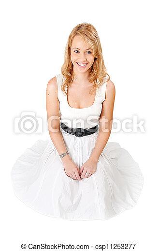 mulher, white., loura, jovem - csp11253277