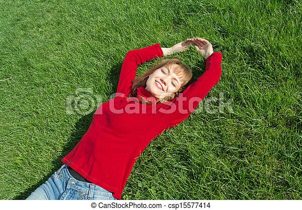 mulheres, capim, relaxamento - csp15577414