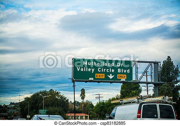 Mulholland drive exit sign in Los Angeles - csp83182885
