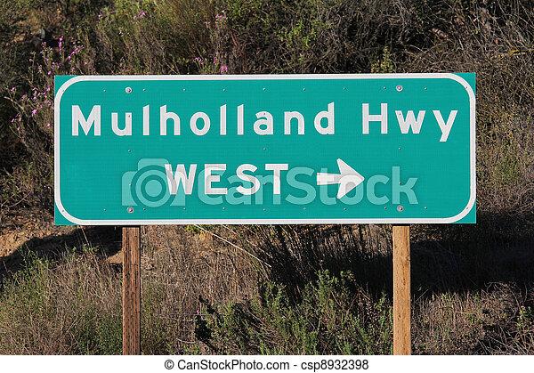 Mulholland Hwy Sign near Los Angeles - csp8932398