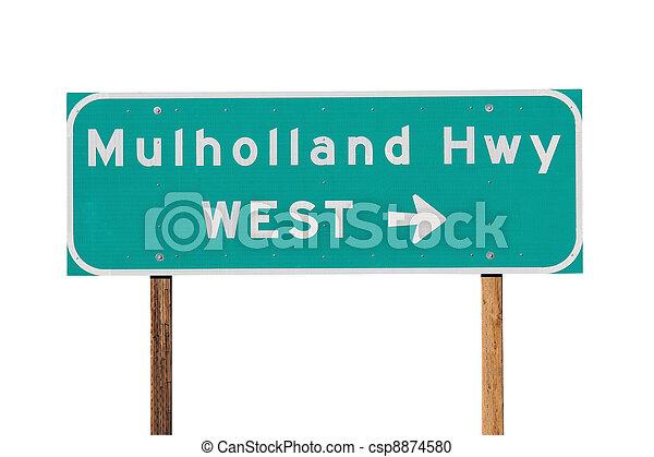 Mulholland Hwy Sign near Los Angeles - csp8874580