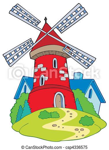 mulino, cartone animato - csp4336575
