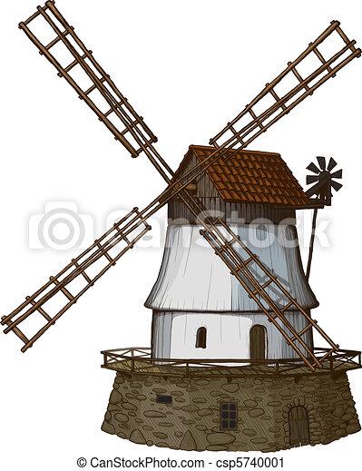 mulino vento, me, come, woodcut, disegnato - csp5740001