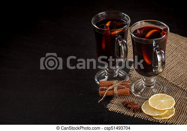 Mulled Wine Banner Glasses With Hot Red Wine And Spices On Dark Background Modern Dark Mood Style Vinous Concept For