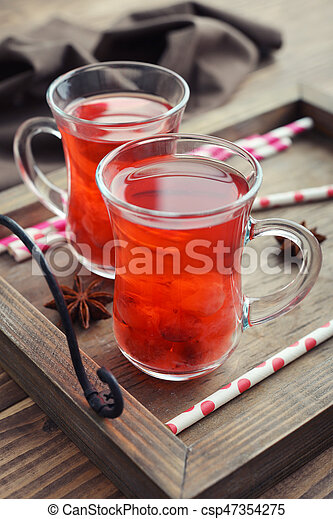 Mulled wine with fresh cranberry - csp47354275