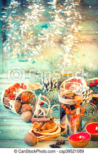 mulled wine with orange and spices on wooden backgroundchristmas decoration csp39521089
