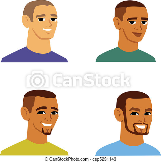 multi-étnico, homens, avatar, caricatura - csp5231143