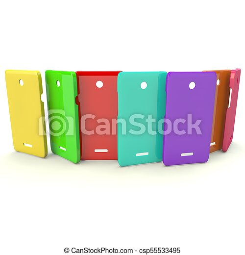 Multi Colored Covers For Smartphones On A White Isolated Background
