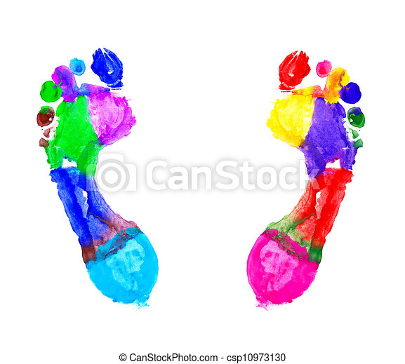 Multi Colored footprints - csp10973130