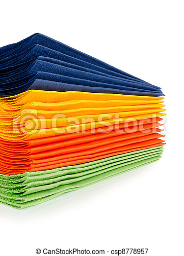 multi colored paper napkins for laying isolated on a white background