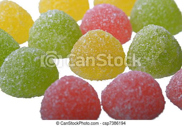Multi-coloured jelly sweets - csp7386194