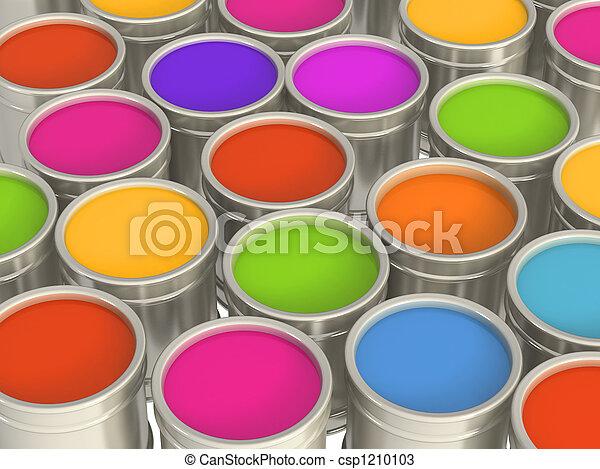 Multi-coloured paints - csp1210103
