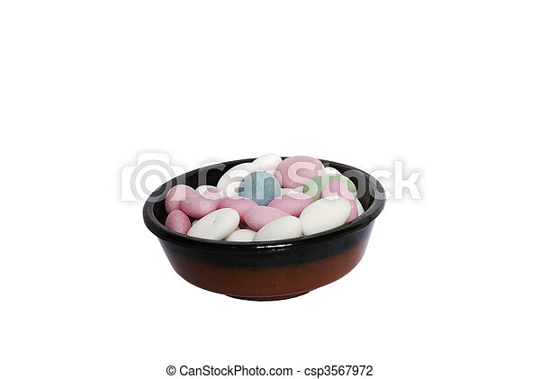 Multi-coloured sweets isolated - csp3567972