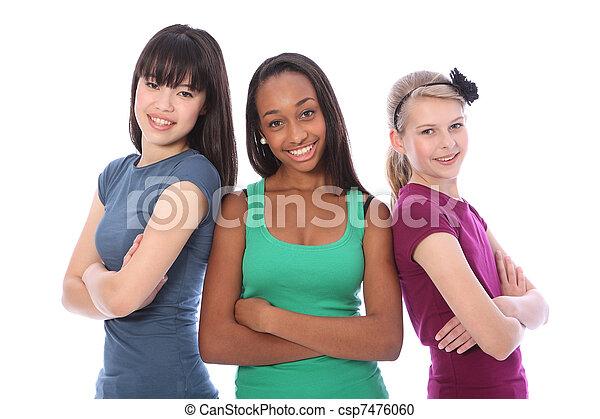 Multi cultural group teenage school girl friends - csp7476060