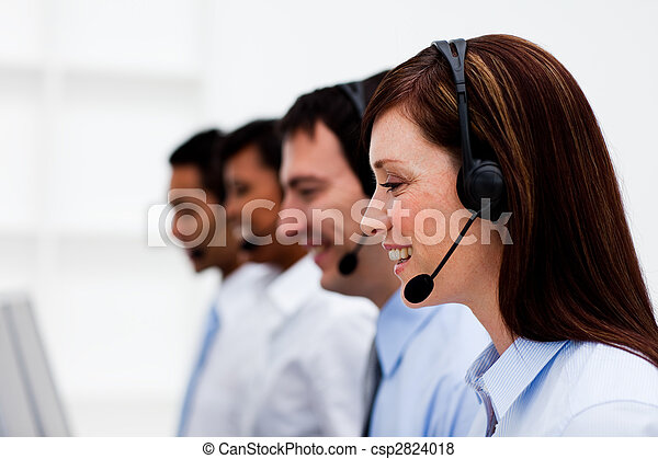 Multi-ethnic customer service agents with headset on - csp2824018