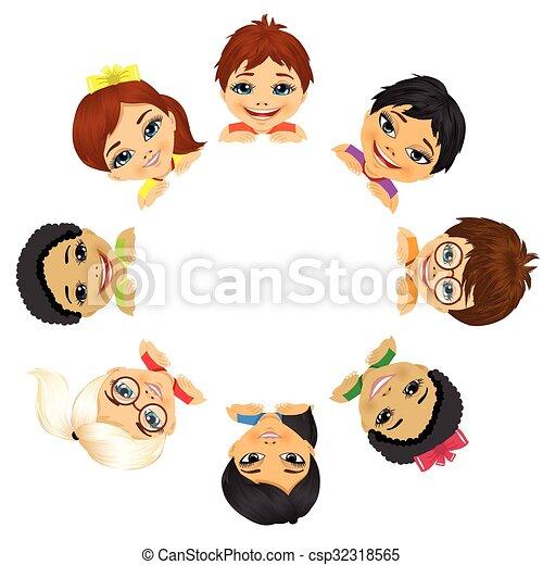 multi ethnic group of children - csp32318565