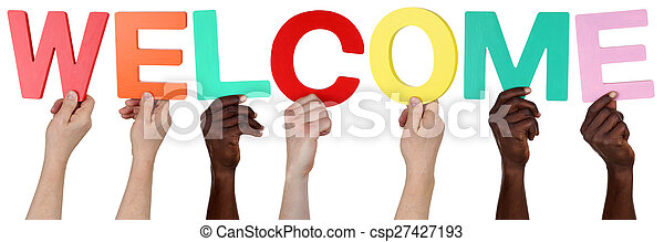 Multi ethnic group of people holding the word welcome - csp27427193