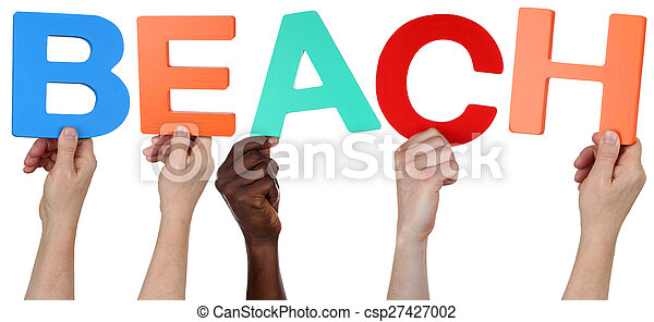Multi ethnic group of people holding the word beach - csp27427002