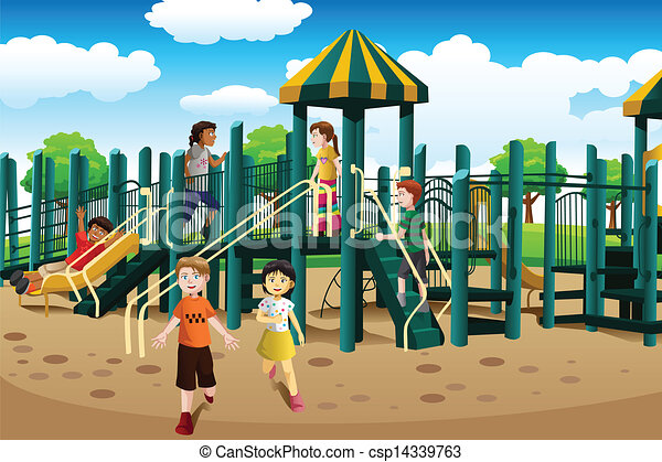 multi ethnic kids playing in the playground a vector clip art rh canstockphoto com Free Recess Clip Art playground clipart free