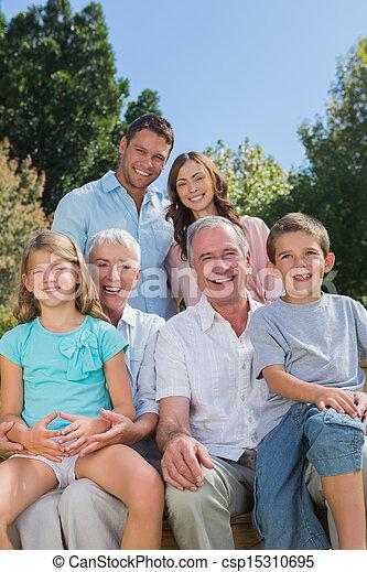 multi, familia , sentado, generación, banca de parque, alegre - csp15310695