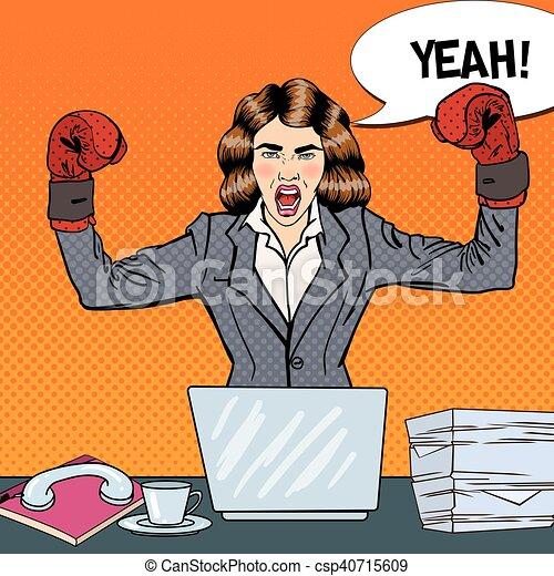 multi femme art bureau business boxe illustration clipart vectoriel rechercher. Black Bedroom Furniture Sets. Home Design Ideas