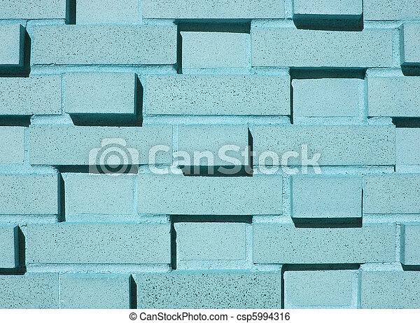 Multi-Layered Aqua Brick Wall - csp5994316