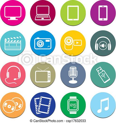 Juegos de iconos redondos multimedia - csp17632033