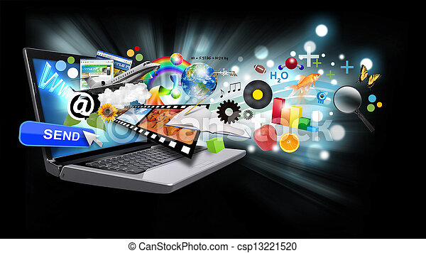 Multi media internet laptop with objects on black - csp13221520