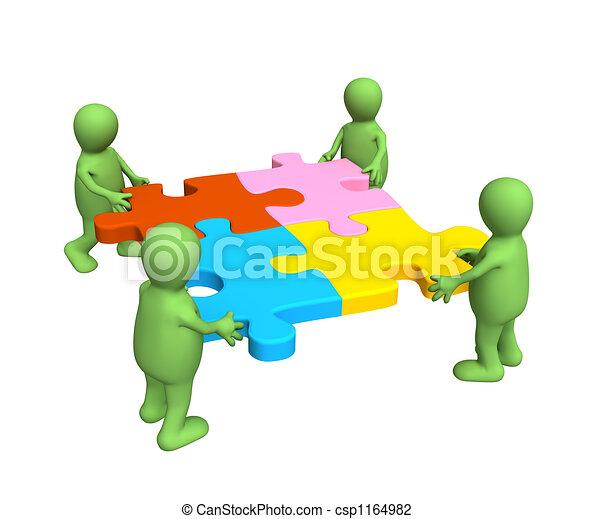 multi, quebra-cabeça, fantoches, quatro, colo, segurar passa - csp1164982