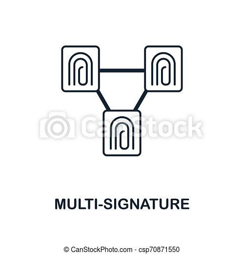 Multi-Signature icon. Monochrome style design from blockchain icon collection. UI and UX. Pixel perfect multi-signature icon. For web design, apps, software, print usage. - csp70871550