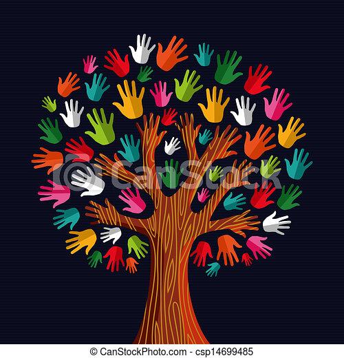 multi, social, árvore, solidariedade, mãos - csp14699485