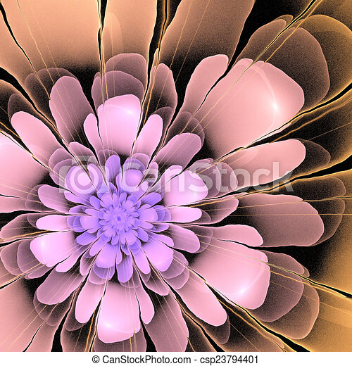multicolor 3d fractal abstract asymetric flower - csp23794401