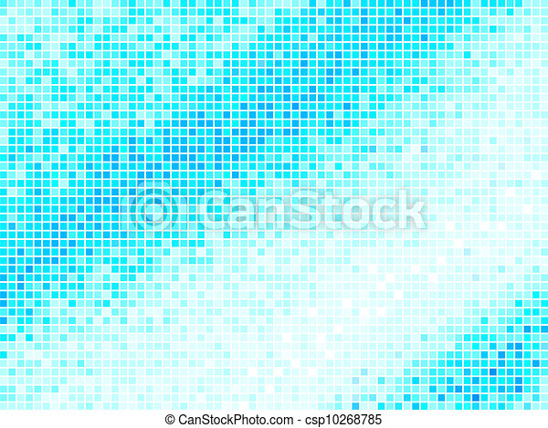 Multicolor Abstract Light Blue Tile Background. Square Pixel Mosaic Vector - csp10268785