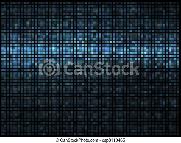 Multicolor abstract lights blue disco background. Square pixel mosaic vector - csp8110465