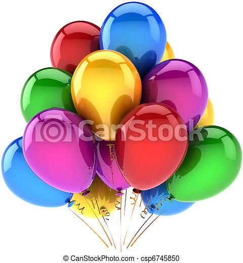 multicolor, cumpleaños, globos, feliz - csp6745850