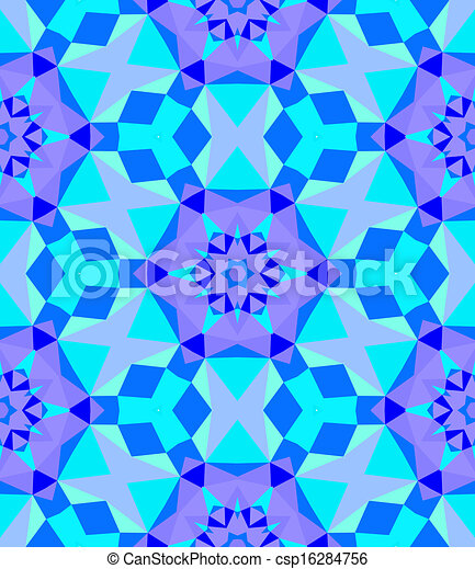 Multicolor geometric pattern in bright blue. - csp16284756