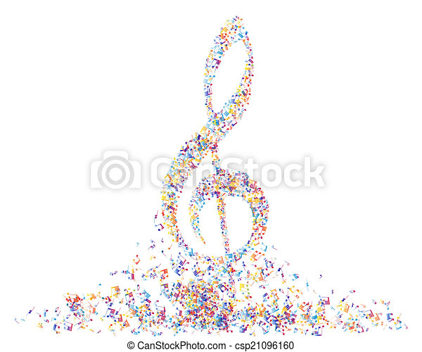 Multicolor Musical Note Staff Background Vector Illustration Eps 10