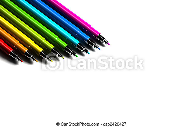 Multicolor pens on white background - csp1866734