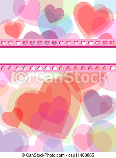 Multicolor Transparent Hearts Love Card Cute Valentines Day Or
