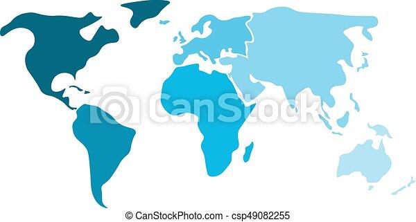 Carte Australie Sur Europe.Multicolore Simplifie Vide Bleu Different Silhouette Divise Six Asie Amerique Afrique Carte Australie Nord Continents Oceania