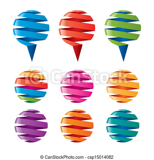 multicolored balloons twisted ribbons - csp15014082