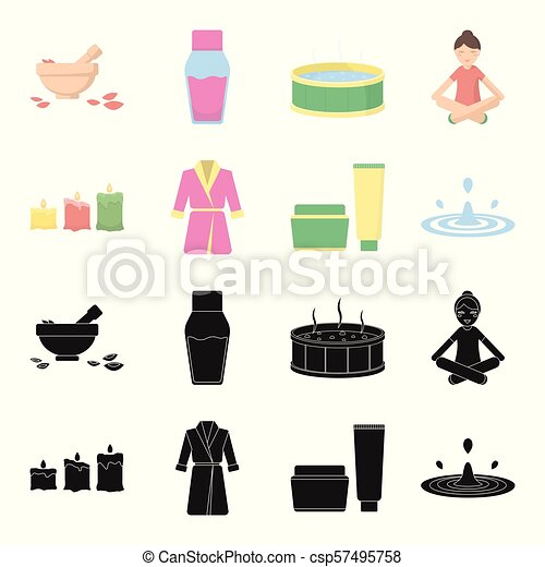 Multicolored burning candles, a pink robe with a yellow belt and a collar, a tube with cream and a jar with an ointment, a drop of water.Spa set collection icons in black,cartoon style vector symbol stock illustration web. - csp57495758