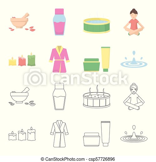 Multicolored burning candles, a pink robe with a yellow belt and a collar, a tube with cream and a jar with an ointment, a drop of water.Spa set collection icons in cartoon,outline style vector symbol stock illustration web. - csp57726896
