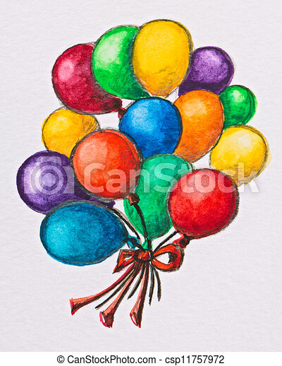 Multicolored Celebration Balloons Watercolor With Slate Pencil Painting