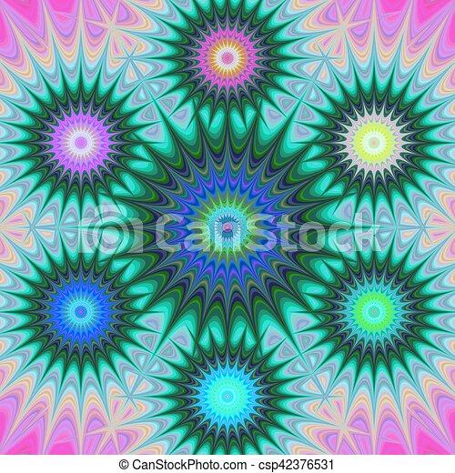 Multicolored fractal mandala background - csp42376531