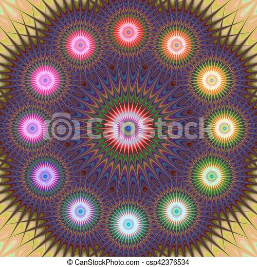 Multicolored fractal mandala background - csp42376534