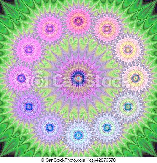 Multicolored fractal mandala background - csp42376570