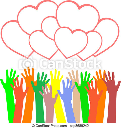 multicolored hands holding the heart. greetings card - csp8689242