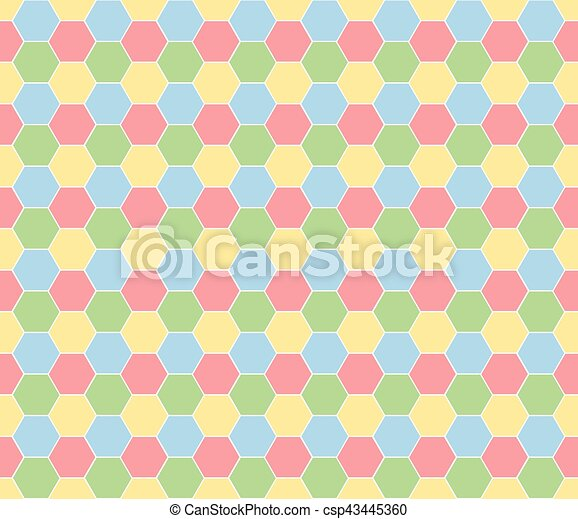 Multicolored hexagon geometric seamless background. - csp43445360